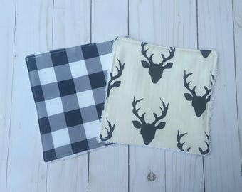 White And Black Deer washcloths- set of 2, baby shower gift boy, reusable wipes, cloth wipes, wash cloths, bath accessories, baby boy, plaid