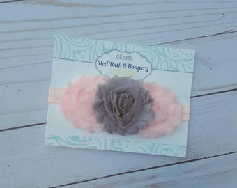 Light Pink and Grey Baby Headband- Infant Headband, Newborn Headband, Flower Headband, First Birthday, Cake Smash Accessories, Gray and Pink