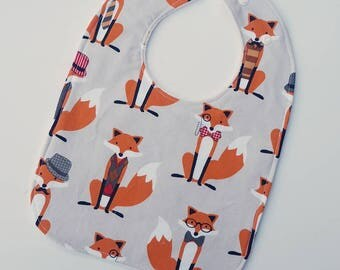 Baby Boy Bib- Fox Bib, Bibs For Boys, Adjustable Baby Bibs, Baby Shower Gift for Boys, Modern Baby, Plastic Snap Bibs, Baby Feed Accessories