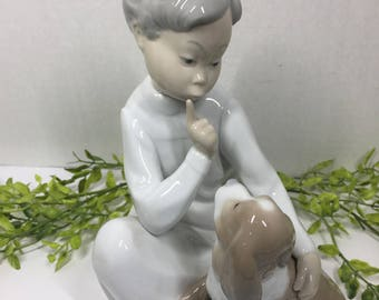 """Vintage Lladro """"Boy with Dog"""" #4522 Retired Made in Spain"""