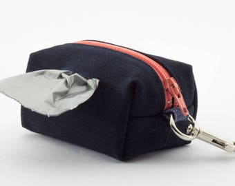 Dog poop bag holder in navy blue with coral pink zipper // clip on mini dopp kit zipper pouch // gifts for dog lovers