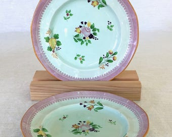 Adams China Co. of England, Calyx Ware, Lowestoft Pattern, Hand-painted, 2 Luncheon/Salad Plates, Early 1900s, Old Mark