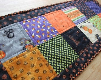 Quilted Halloween Table Runner! Black and Orange Table Runner.