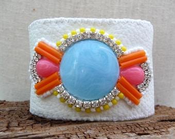 Blue and Orange Resin and Rhinestone Handmade Vegan Leather Cuff Bracelet