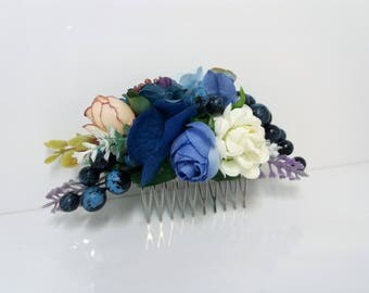 Blue Flower comb Bridal flower comb Wedding hair piece  Floral comb Wedding flower comb  Bridal hair accessories Bridesmaid Flower comb