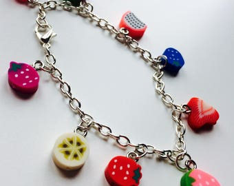Sale | Feeling Fruity | Charm Bracelet | Fruit | Polymer Clay | Cute | Kawaii