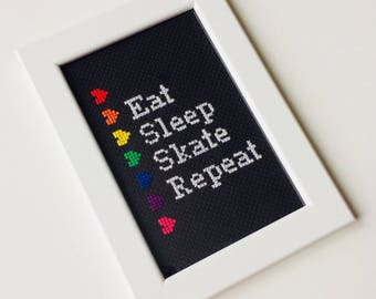 Eat Sleep Skate Repeat | Roller Derby | Skater | Heart | Framed | Cross Stitch | Completed | Home | Geek |