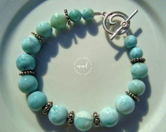 All Larimar and Sterling Silver Beaded Bracelet