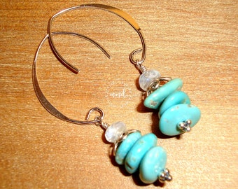 Aqua Blue Castle Dome Turquoise, Opal and Sterling Silver Short Dangle Earrings