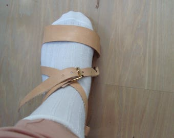 genuine leather sandals handmade handsewed with bucckle on cowskin
