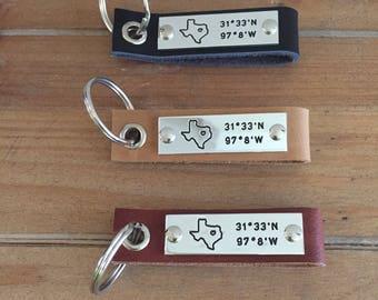 Texas Coordinate Leather Keychain