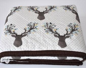 Deer antlers in aspen Quilt, baby quilt, woodland nursery, deer, fawn, baby girl, coral, blanket, crib bedding