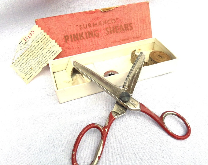 FREE SHIPPING, Surmanco Pinking Shears, Made in Sheffield England, Circa 1960's, Faded and Worn Red Original Box, Shears Excellent Condition