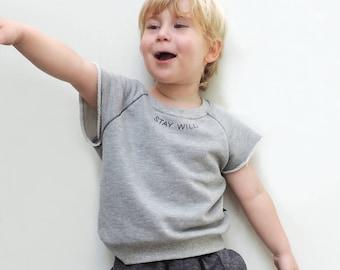 Kids Sweatshirt, Baby Sweatshirt, Sleeveless Sweatshirt, Hipster Kids Clothes, Trendy Kids Clothes, STAY WILD Screen Print - By PetitWild