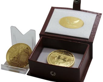 BITCOIN 24k Gold Coated with certificate in Luxurious Gift Case Great Gift for Accountant Finance Online Trader Internet Cashless Wallet