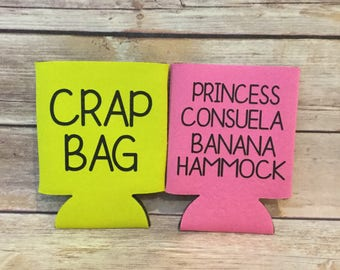 funny his  u0026 hers crap bag princess consuela banana hammock friend phoebe can cooler beverage holder banana hammock   etsy  rh   etsy