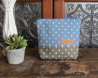 Medium Gusset Make Up Bag, Blue Dots, Tan Dots, Zipper Pouch, Travel Bag, Purse Size Make Up Bag, Zipper Storage Bag