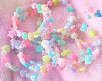 Fairy Kei Bracelets - Pastel Kawaii - Kandi Bracelets - Gift for Little Girl - Daughter Gift - Best Friends - Set of 3 Bracelets - Pop Kei