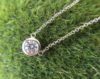 0.3 Carat Diamond Charm Diamond Necklace White Gold Necklace Diamond Pendant White Gold Charm