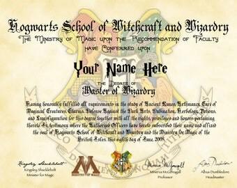 Custom Hogwarts Diploma