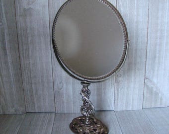 Vintage Ormolu Mirror,  Double Sided Standing Mirror, Dresser Mirror, Make up Mirror, Rose Vanity Mirror, Ornate Mirror