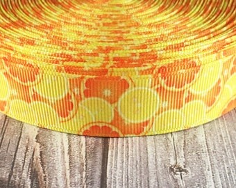 Citrus ribbon - Orange ribbon - Lemon ribbon - Grosgrain ribbon - Fruit ribbon - Food ribbon - DIY hair bow - Crafting supply - How to make