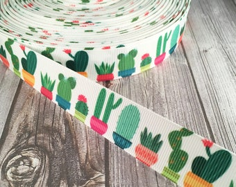 Plant ribbon - Cactus ribbon - Cacti ribbon - Potted plant ribbon - Succulent ribbon - Desert ribbon - Funky ribbon - Grosgrain ribbon