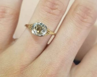 14k Yellow Gold Vintage 0.69ct Round Mine Cut Diamond Engagement Ring