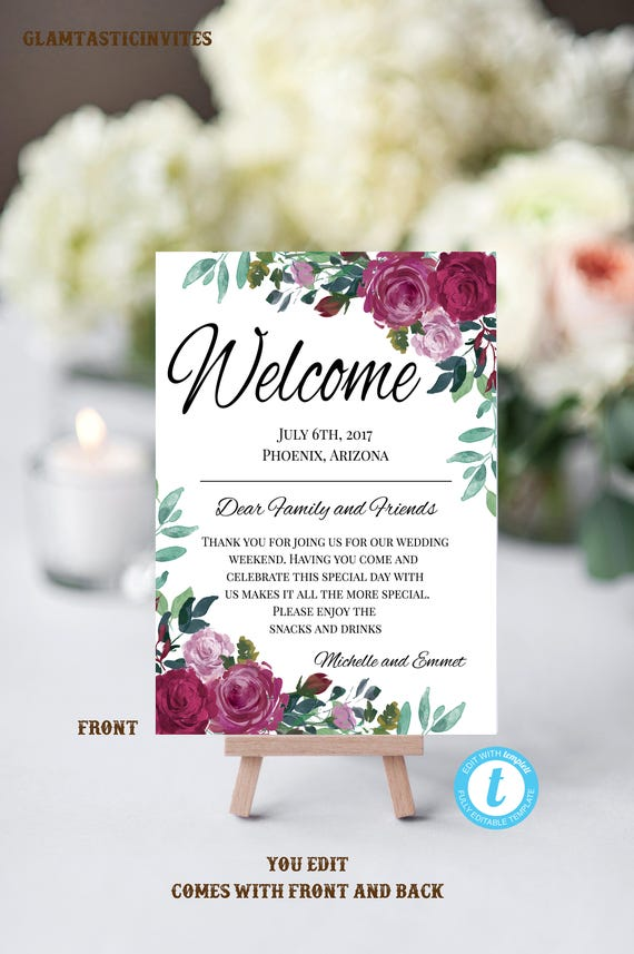 Floral Wedding Welcome Note Template, Welcome Note, Wedding Template ...