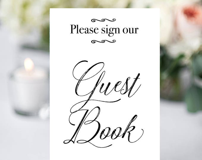 Printable Wedding Sign, Guest Book Sign, Rustic Wedding Sign, Printable Sign, Wedding Sign, CalligraphY, Guest Book, Digital Sign, Elegant