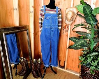 Overalls L XL / dark wash bib overalls / L L Bean USA denim overalls