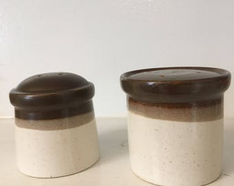 1970's Stacking Japanese Stoneware Salt and Pepper, Rustic, Mid Century, Minimal, Farmhouse
