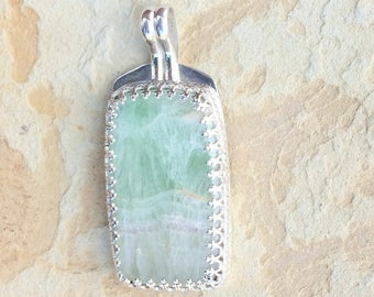 Sea Green Rectangular Stone Pendant