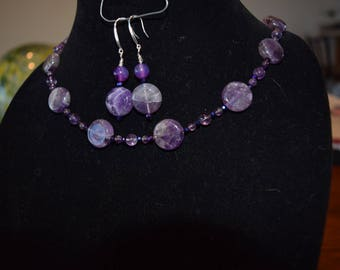 Amethyst button necklace