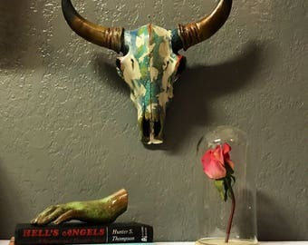 cow skull multicolored hand painted mounted skull with ivory white splatter detailing