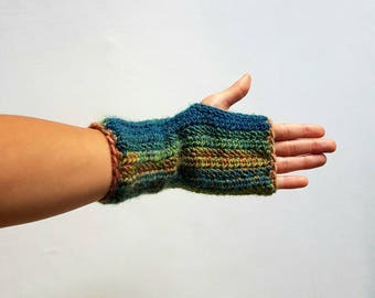Knit Fingerless Gloves, Handknit Gloves, Chunky Knit Gloves, Hand Warmers, Winter Gloves, Rainbow Gloves- MADE TO ORDER