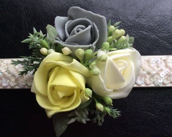 Wedding Dog Collar Accessory, Corsage, Photo Prop,Buttonhole,Lemon and grey, dog of honour,