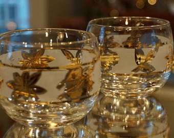 Set of 4 Vintage Mini Roly Poly Starlyte Glasses/ Gold Leaves/ Frosted Glasses/ Vintage Barware/ Mad Men Style/ Wedding decor