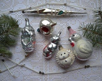 6 Vintage Christmas ornaments, Glass Garland, Antique Glass Bead Strand, Soviet glass ornaments, Feather tree ornaments, Christmas decor