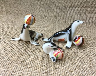 Vintage Seal Figurines--Sea Lion Figurines--Bone China Animal Figurines--Kelvin Seal Figurines--Family of Seals Playing with Balls