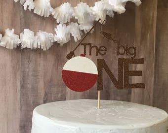 1st birthday cake topper/fishing cake topper/birthday party/fishing party/the big one cake topper