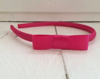 Fuchsia Pink Hairband with Fuchsia Pink Bow