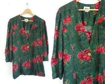 Floral Print Jacket Lightweight Rayon Jacket Flower Roses Filigree Blazer Jacket Womens 1980s Jacket Medium Green Red Metallic Gold