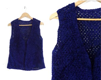 70s Crochet Chenille Vest Midnight Blue Handmade Vest Minimalist Hand Knit Vest Open Front Sweater Vest Womens Waistcoat Small