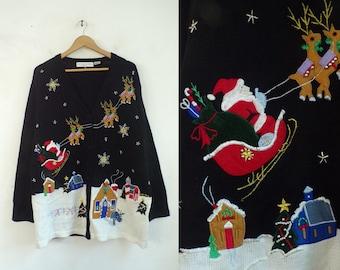 Reindeer Santa Sweater, Victoria Jones Ugly Christmas, Santa & Reindeer Button Front Cardigan Sweater Plus Size 1X, New old Stock, 90s