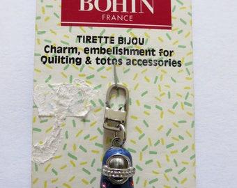 Jewel blue shoe zipper pull