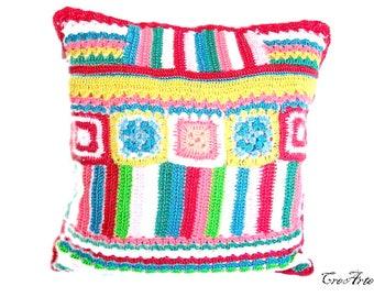 Colorful crochet cover for pillow, cover colorata all'uncinetto per cuscino