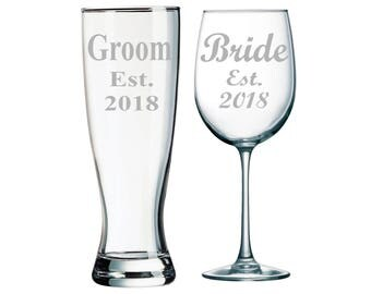Groom est. 2018 Beer Pilsner Glass and Bride est. 2018 Wine Glass set