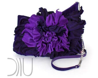 Purple Clutch Bag | Leather Clutch with Flower | Purple Leather Clutch Bag | Flower Clutch Bag | Purple Evening Bag | Purple Clutch Peony
