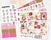 But First Coffee set kit weekly stickers - for Erin Condren VERTICAL Planner - donuts, pink, hearts, watercolor, girl latte, breakfast